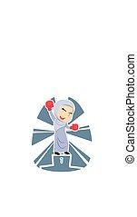 Arabian businesswoman boxer champion color