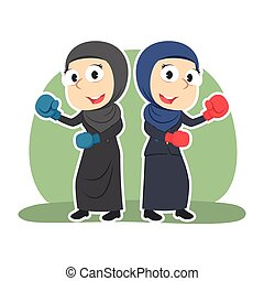 Arabian businesswoman fighting together color
