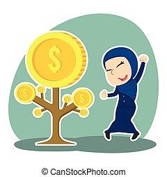 Arabian businesswoman happy her coin tree grow