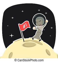 Arabian businesswoman is putting flag on moon