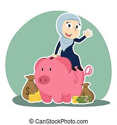 Arabian businesswoman on piggy bank with a lot of money