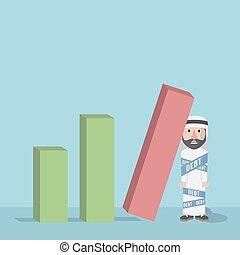 arabian bussinessman got a debt loss vector illustration