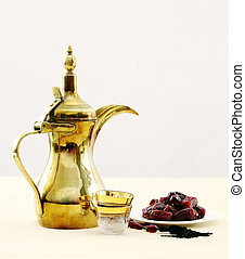Arabian coffee and dates - A traditional Arabian coffee pot...