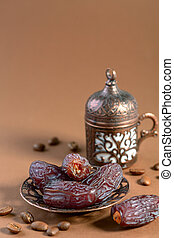 Arabian coffee traditional set and dates.