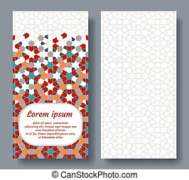 Arabian double card for invitation, celebration, save the date, wedding performed in arabian geometric tile. Colofrul vector template