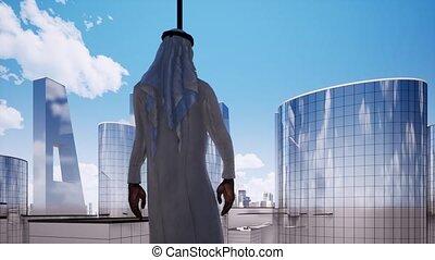 Arabian entrepreneur contemplating next big business deal video