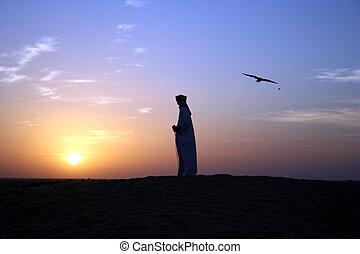 An Arab Falconer hunts at dusk