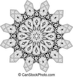 Black and white Arabic middle eastern floral pattern motif, based on Arabian ornament