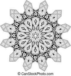 Arabian floral pattern motif - Black and white Arabic middle...