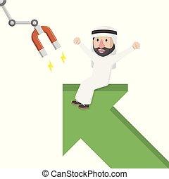 arabian got his profit growing vector illustration