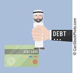 arabian got in debt vector illustration