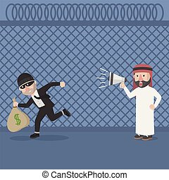 arabian got robbed and shouting vector illustration