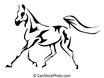 arabian horse. outline silhouette isolated on white