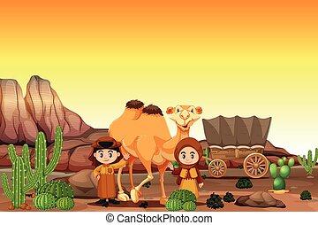 Arabian in the desert