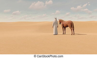 Arabian man and red horse in sandy desert 3D - Desert...