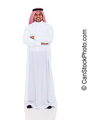 arabian man full length portrait - smiling arabian man full...