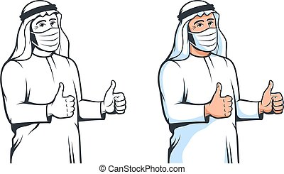 Arabian man in medical mask thumbs up in retro style. Arab muslim wearing fase mask with hand positive gesture. Ok sign. Vector isolated cartoon illustration.