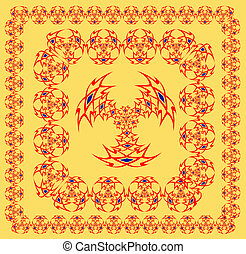 Arabian ornaments of red and black color on a white background