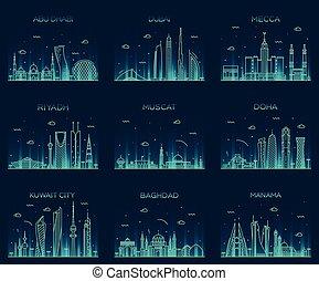 Arabian peninsula skylines line art style vector - Arabian...