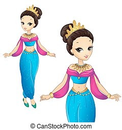 Arabian Princess In Gold Crown - Vector illustration of...