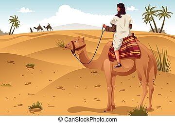 Arabian Riding Camels on the Desert - A vector illustration...