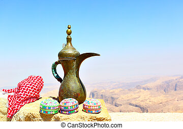 Arabian souvenirs on the stone and Jordan's mountains in the...