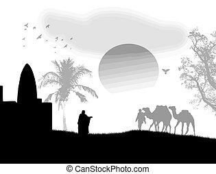 Arabian sunset on black and white - Vector illustration in...