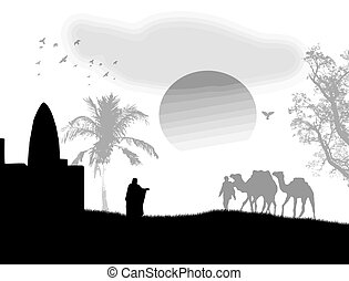 Arabian sunset on black and white - Vector illustration in...