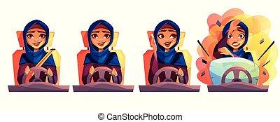Arabian woman driving car vector illustration