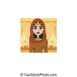 Arabian woman in the desert - card