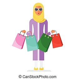 arabian woman with shopping bags