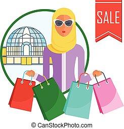 arabian woman with shopping bags sticker