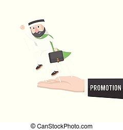 arabian worker got promotion vector illustration