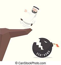 arabian worker got slipped into debt cliff vector...
