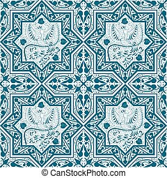 Arabic Blue Seamless Pattern with bird Phoenix