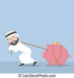 Arabic busines man pulling piggy ba