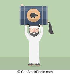 Arabic business man lifting oil tan