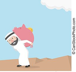 Arabic business man lifting piggy b