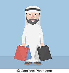 Arabic business man with shopping b