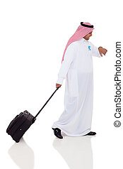 arabic business traveler checking time