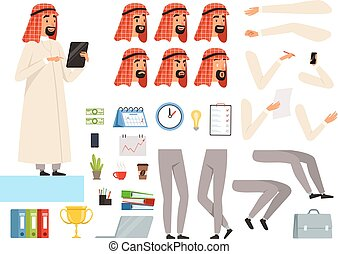 Arabic businessman animation. Creation kit with body parts and business tools vector constructor of muslim character