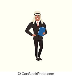 Arabic businessman character in formal wear standing with folder for documents vector Illustration on a white background