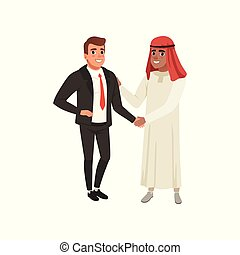 Arabic businessman handshaking to his business partner vector Illustration on a white background