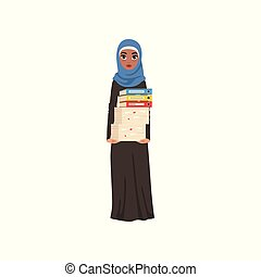 Arabic businesswoman character standing and holding stack of papers and folders, elegant muslim woman vector Illustration on a white background