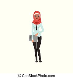 Arabic businesswoman character standing with folder for documents, elegant muslim woman in formal wear vector Illustration on a white background