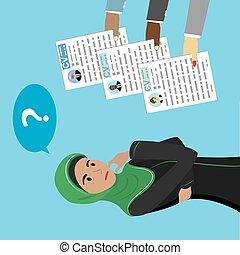Arabic Businesswoman makes a choice between CV candidates,...