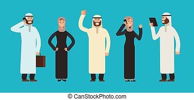 Arabic businesswomen and businessmen group. Arab business people team vector cartoon characters set