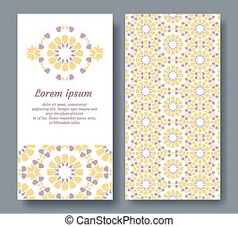 Arabic card for invitation, celebration, save the date, wedding performed in arabic geometric tile. Colofrul vector template of card.