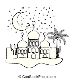 arabic castles in the night scene