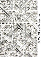 arabic - closeup of a wall of white plaster Arabic